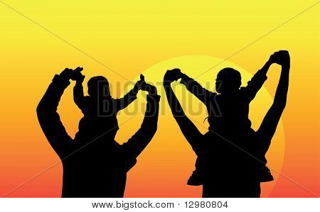 family with children on shoulders silhouette vector