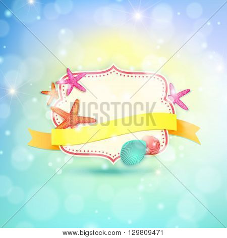 Summer frame with place for text. Summer vector background with ribbon starfishes and shells