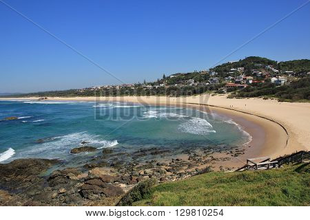 Azure blue pacific and Lighthouse Beach. Travel destination Port Macquarie Australia.