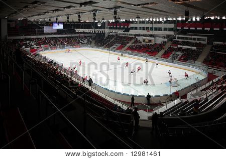 "MOSCOW - JANUARY 15: Hockey match ""Spartak""-""Severstal"" (Cherepovets) on ice field in sports palace ""Sokolniki"" January 15, 2009 in Moscow, Russia."
