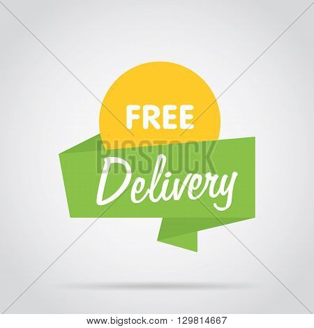 Free delivery badge. Advertisement symbol isolated vector in flat design style. Free delivery label. Colorful abstract badge or label. Free deliveri icon. Special offer. Origami style badge of free delivery.