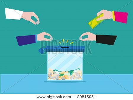 Hands putting money on a glass box or still bank container. Donation or bank savings concept. Editable Clip Art.