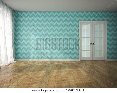 Interior of empty room with blue wallpaper and door 3D rendering