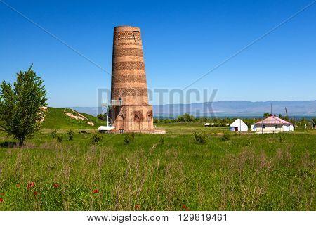 Burana landscape. Kyrgyzstan tower
