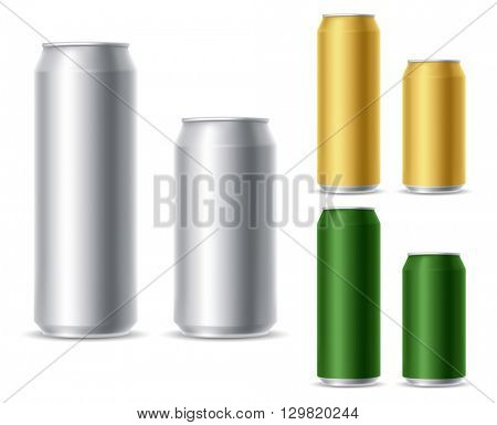 Set of realistic metallic, golden and green beer cans. Blank beer cans, ready for new design. 500 and 300 ml. Isolated vector illustration