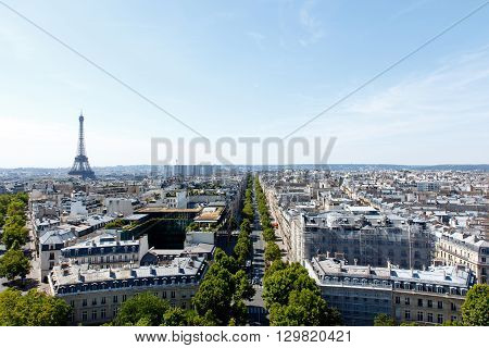Wide angle Paris cityscape with the landmark, tourist destination Eiffel Tower, Paris, France