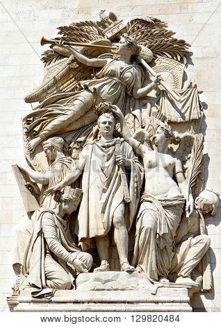 Carvings and statues on the walls of the landmark Arc de Triumph, Paris, France.