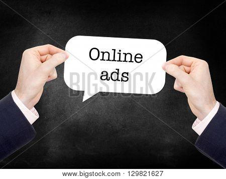 Online ads written on a speechbubble