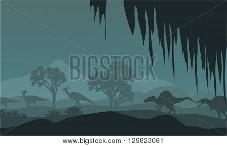 Silhouette of parasaurolophus and spinosaurus at night