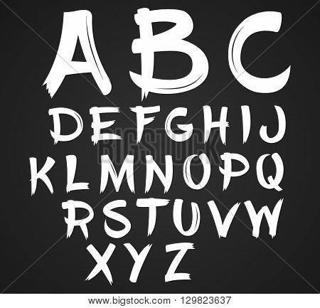 Vector handwritten brush script. White letters on chalkboard background.