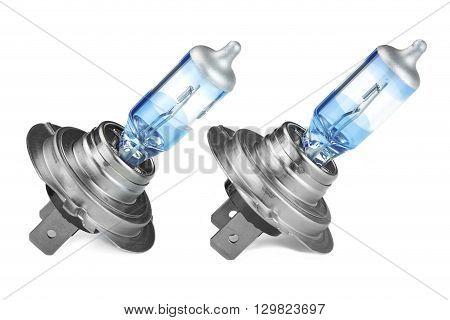 Two H7 High Power  Car Head Light Bulbs White Isolated