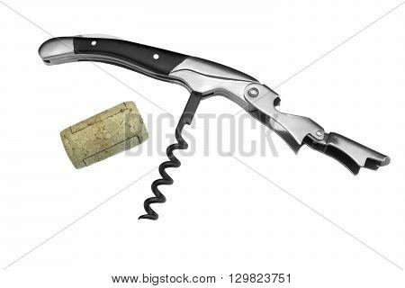 Waiter Or  Sommelier Knife And Wine Bottle Cork White Isolated