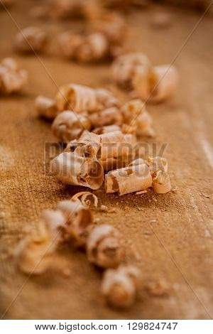 Chips And Sawdust On A Wooden Board
