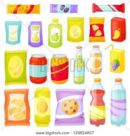 Snack pack set. Snacking products: chips, muesli bar, cookies, soda, juice, nuts. Snacks packing: packet, bag, box, doy pack, bottles, cans, sachet. Fast food vector illustration. Snack and drinks set