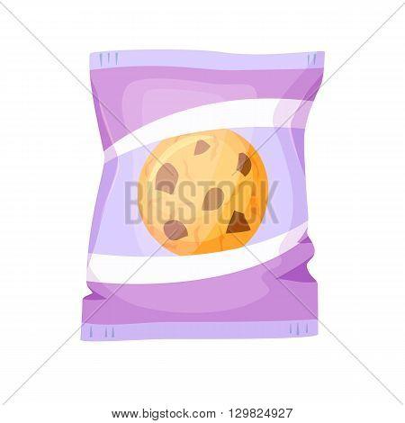 Cookies pack. Chocolate cookies packing vector illustration. Breakfast snack. Fast food. Cartoon chocolate cookies packaging. Wrapper for cookie blank. Packing template