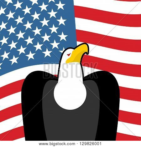 Bald Eagle Usa National Symbols. Large Birds Of Prey And  Flag Of America. American Patriotic Sign