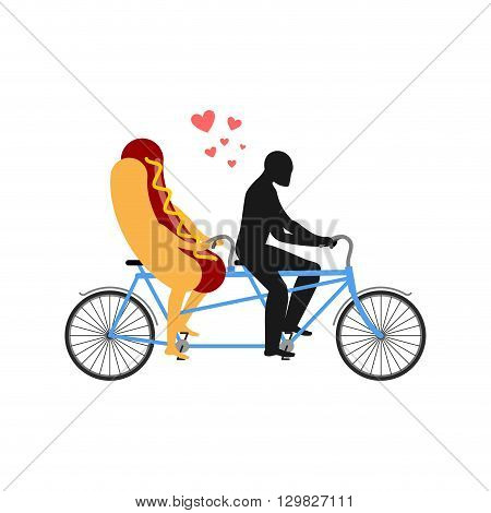 Hot Dog On Bicycle. Lovers Of Cycling. Man Rolls Fast Food On Tandem. Joint Walk With A Meal. Romant