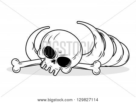 Remains Of Skeleton. Bones And Skull On White Background. Death Illustration