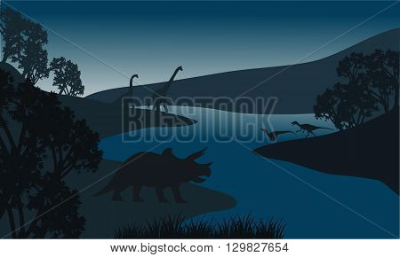 Landscape dinosaur silhouette in river at the night