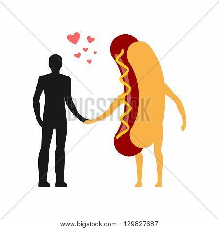 Enamored In Hot Dog Man. Man And Fast Food. Lovers Holding Hands. Romantic Meal Illustration