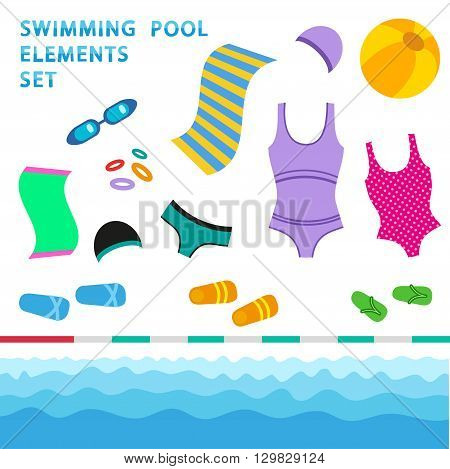 Swimming pool elements - flat style vector set. Isolated collection of elements