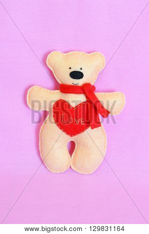 Beige felt Teddy bear. Felt Teddy bear toy. Felt ornament. Felt crafts