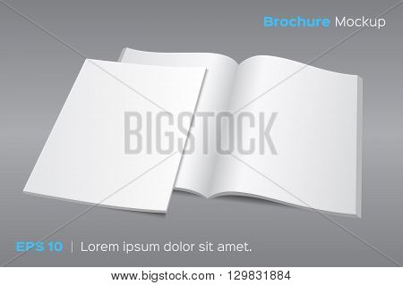 Blank opened magazine or brochure mockup. Vector illustration on gray background. Photo realistic with shadows. EPS 10