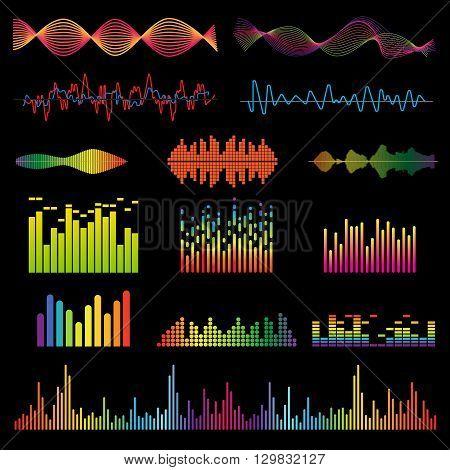 Set color sound waves colorful light audio signal design, digital music waves. Audio equalizer technology, pulse musical audio signal, music waves vector illustration. Audio signal and music waves.