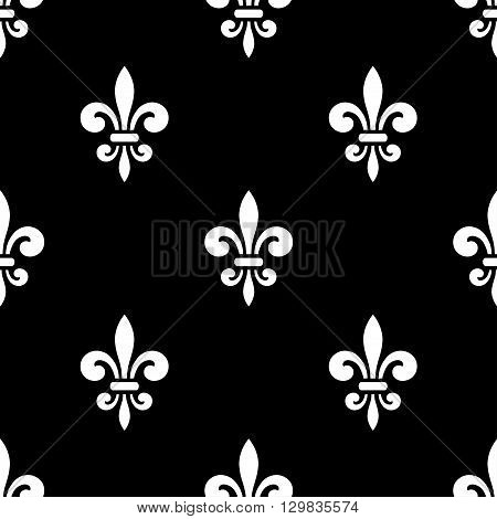 Golden fleur-de-lis seamless pattern. Black white template. Floral classic texture. Fleur de lis royal lily retro background. Design vintage for card wallpaper wrapping textile. Vector Illustration