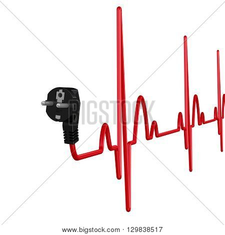 Interruptions in supply of power. Electrical plug with cord in shape of cardiogram. The concept of power outages. Isolated. 3D Illustration