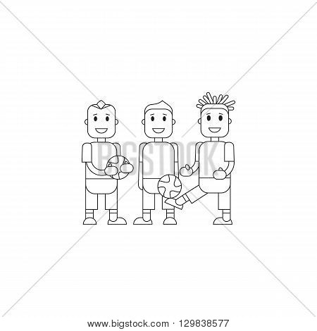 Set character soccer players football team standing isolated background. Vector flat illustration football player posing with the ball in team uniforms. Thine line character soccer players