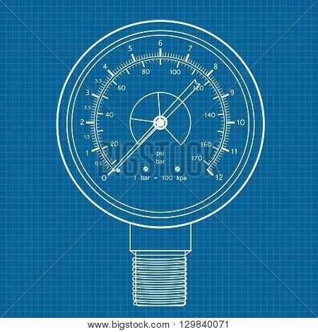 Gauge. Manometer icon. Vector illustration on blueprint background