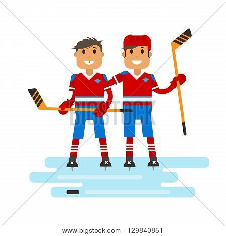 Vector illustration of two hockey players with hockey sticks in hands on the ice. Hockey players are posing in uniform. Flat character design.