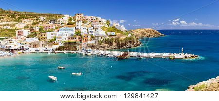 Harbour With Vessels, Boats And Lighthouse In Bali, Crete