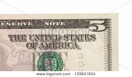 Us Five Dollar Bill, Close Up