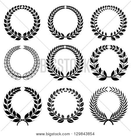 Laurel wreaths vector set. Wreath laurel insignia frame, winner wreath laurel and branch award collection illustration