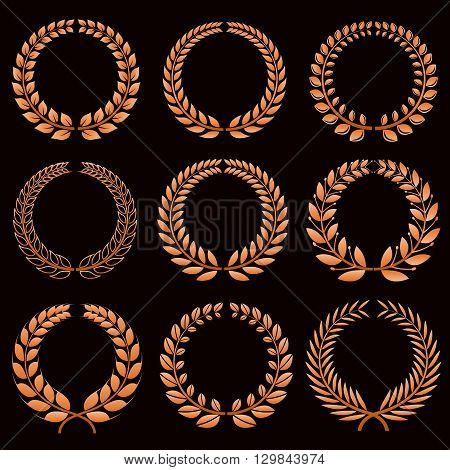 Winner labels with gold laurel wreaths vector set. Laurel sport winner, branch wreath laurel trophy and triumph emblem illustration