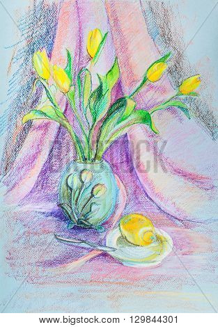 Bouquet of the yellow beutiful tulips, April