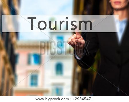 Tourism - Businesswoman Hand Pressing Button On Touch Screen Interface.