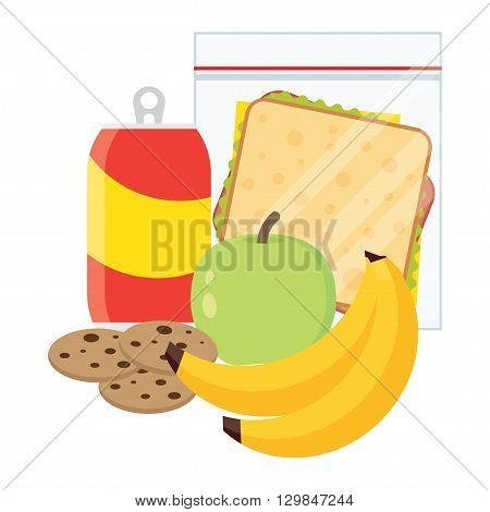 Lunch vector illustration. Lunch break concept. Lunch time design. sandwich soda and an apple. Lunch icon in flat style. Lunch school. Lunch kids image.