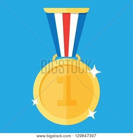 Gold medal. Gold medal icon. Isolated gold medal. Gold medal for first place. Gold medal flat icon
