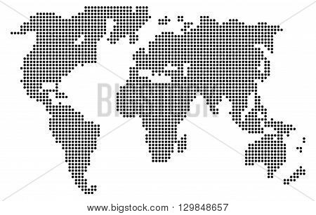 Abstract computer graphic World map of gray round dots. Vector illustration of world map