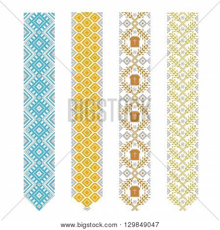 Ukrainian Slavic Belarusian traditional seamless folk embroidery pattern poster