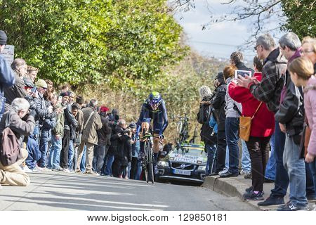 Conflans-Sainte-HonorineFrance-March 62016: The Spanish cyclist Ruben Fernandez Andujar of Movistar Team riding during the prologue stage of Paris-Nice 2016.