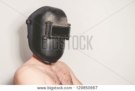 Shirtless Man With Welding Mask