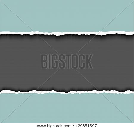 Torn paper frame for text. Vector tear paper background with dark copyspace and rough edges Tear paper. Hole in paper on dark background.