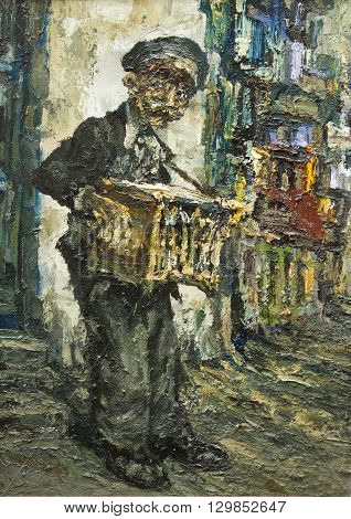 street muscian original oil painting on canvas, impressionism art, modern art gypsy playing on accordion on the street, impressionist relief painting,