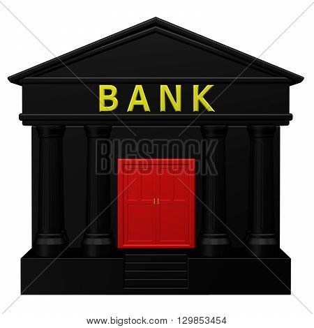 Concept: Bank isolated on white background. 3D rendering.