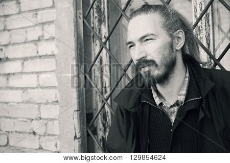Monochrome Portrait Of Young Bearded Asian Man