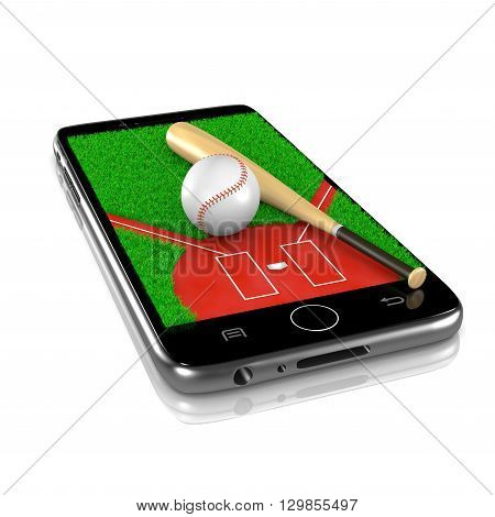 Baseball Field with Ball and Bat on Smartphone Display 3D Illustration Isolated on White Background